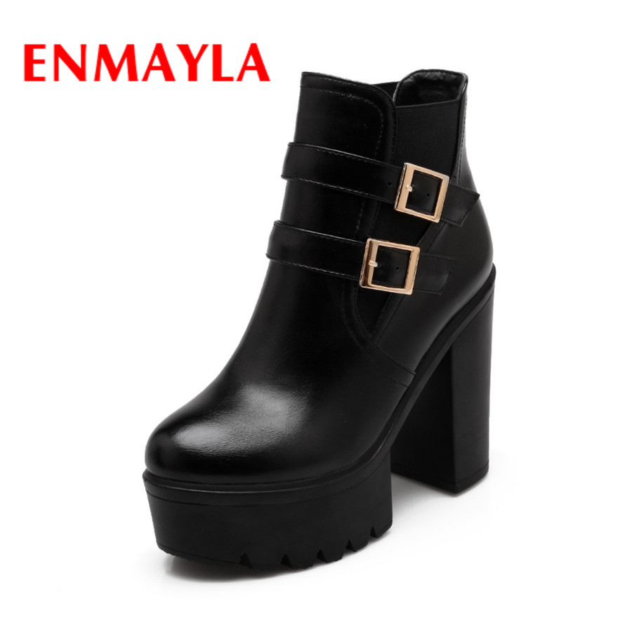 ENMAYLA 2017 New Womens Dating Winter Platform Fur Boots Round Toe Fashion Square Heels Buckle Strp PU Shoes  Ladies Warm Boots enmayla new lace up boots for women western solid pu shoes pointed toe spring autumn boots 34 43 womens fashion dating shoes