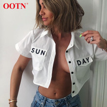 OOTN SUNDAY Print Crop Top Blouse Women Short Sleeve Shirts Female 2019 Summer Tops Turn Down Collar Office White Blouses Button(China)