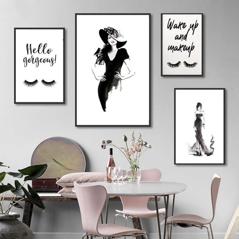 FASHION ART Wake up and make up quote simple art fashion print