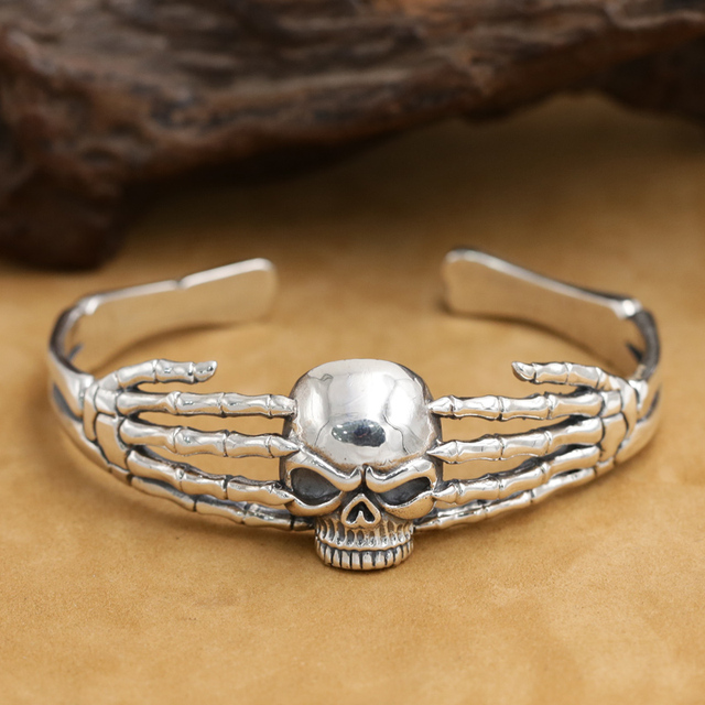 Handmade Real 925 Silver Skull Bangle Vintage Sterling Bracelet Skeleton