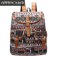 Annmouler Vintage Women Backpacks Large Capacity Cotton Rucksack Elephant Print School Bags For Girl String Open