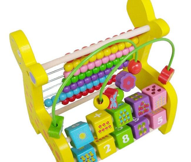 New wooden toy Multifunction deer around beads flap computing rack Free shipping