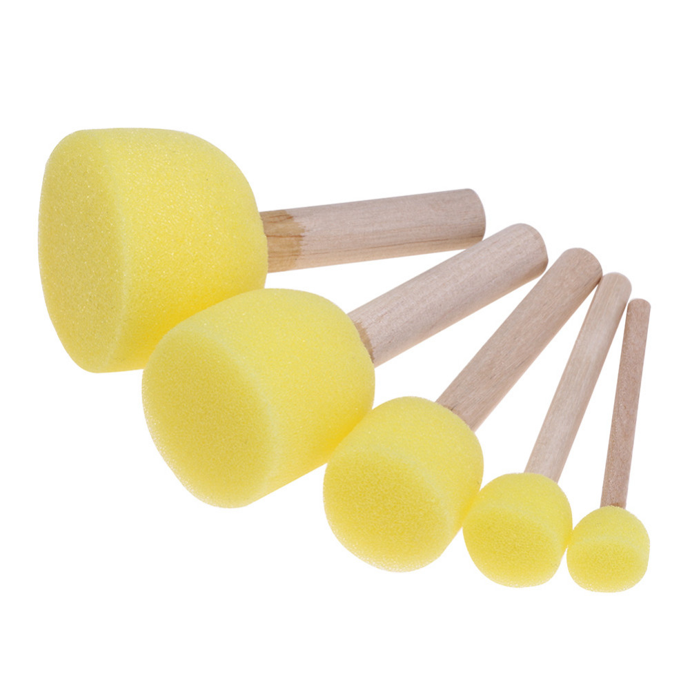 Sponge Paint Brushes Toys Wooden Handle Seal Sponge Brushes Kids Children Drawing Painting Graffiti Brush School Supply Yellow