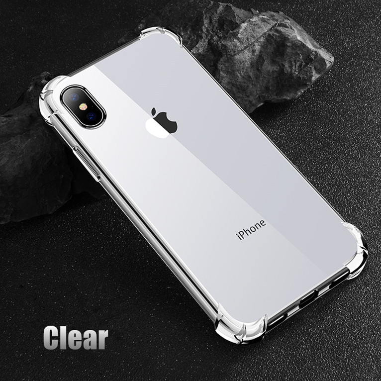 USLION Shockproof Armor Clear Case For iPhone XS Max XR X 8 7 6 6s Plus 5 5s SE Transparent Shockproof Phone Cases Airbag Cover