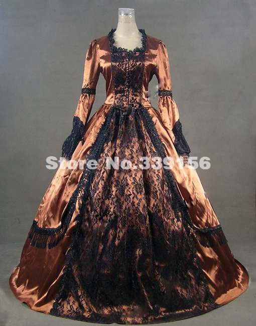 2017 Noble Gold Long Sleeve Lace Gothic Civil War Victorian Ball Gown Renaissance Victorian Dress