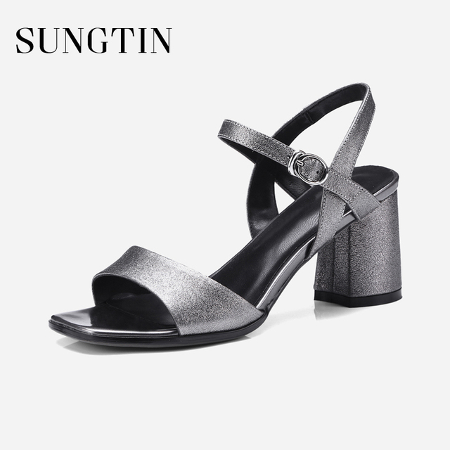 c7abf5ccddc Sungtin Sexy Ankle Strap Block Heel Sandals Women Fashion Bling Open Toe  High Heels Lady Summer Slingback Sandals Large Size 42