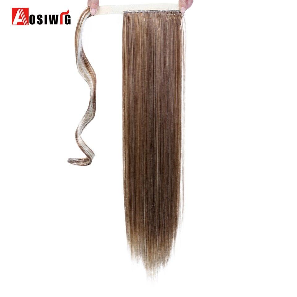 100g 15 Couleurs Disponibles Haute Température Fiber Synthétique Faux Cheveux Enveloppant Queue de Cheval Extensions pour les Femmes AOSIWIG