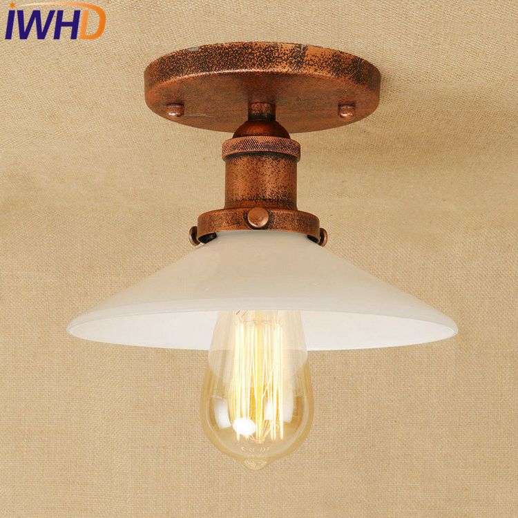 IWHD Loft Style Edison Industrial Ceiling Lamp Antique Iron Glass Vintage LED Ceiling Light Fixtures Home Lighting Lamparas бумажник tory burch nms15 v2dpd