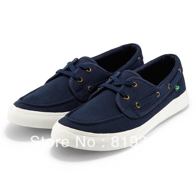 2013 NEW Arrival VANCL Men Shoes Fashion Davin Canvas Boat Shoes Breathable Casual Style Black/Deep Blue FREE SHIPPING