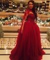 De noche de lujo rojo opacidad manga vestidos de bola vestido de festa prom dress