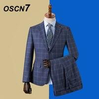 OSCN7 2019 Plaid Custom Made Suits Men Slim Fit Wedding Party Mens Tailor Made Suit Fashion 3 Piece Blazer Pants Vest ZM 575