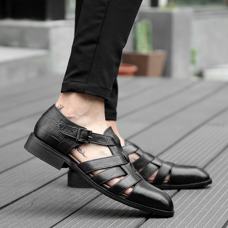 2018 new men's sandals summer fashion men shoes genuine leather - Men's Shoes - Photo 2