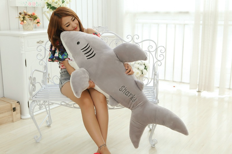Énorme new creative peluche requin jouet en peluche grand gris requin poupée cadeau environ 120 cm 0110