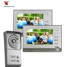 Yobang Security  7″Touch Screen Video Intercom Door Phone System 2 Monitors + Outdoor Doorbell Camera For 2 Apartments Family