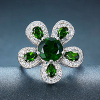 Hutang Solid 925 Sterling Silver 2 32ct Natural Chrome Diopside White Topaz Ring Women S Gemstone