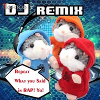 TOFOCO Repeat What You Said In Rap Cool Electronic Dj Talking Hamster Plush Toy Sound Record