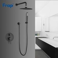 Frap New Arrival Bathroom Shower Faucet Brass Round Black Rainfall Shower Mixer Tap Bathtub Faucets Waterfall Bath Shower Y24024