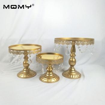 3PCS/ Set Gold Mirror Cake Stand Round Metal Wedding Party Dessert Cupcake Pedestal Display