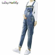Maternity Jeans Denim Cotton Jumpsuit Jumpsuite Casual Maternity Clothes for Fall Spring Winter Pregnant Trousers Premama