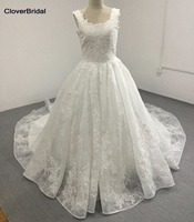 CloverBridal Free Custom Made Beaded Lace Appliques Net Ivory Cathedral Wedding Gown Plus Size Scoop Neckline