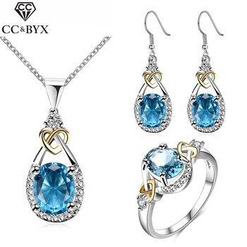 620cbce06c82 Piedra Azul de novia Vintage pendiente y collar de Zirconia cúbico boda  conjuntos de joyas de plata de moda chapado en oro Bijoux CCAS101