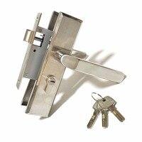 Stainless Steel Panel Handle Lock Indoor Wooden Door Lock With Backrest Double Tongue Lock Body Copper Core Copper Key