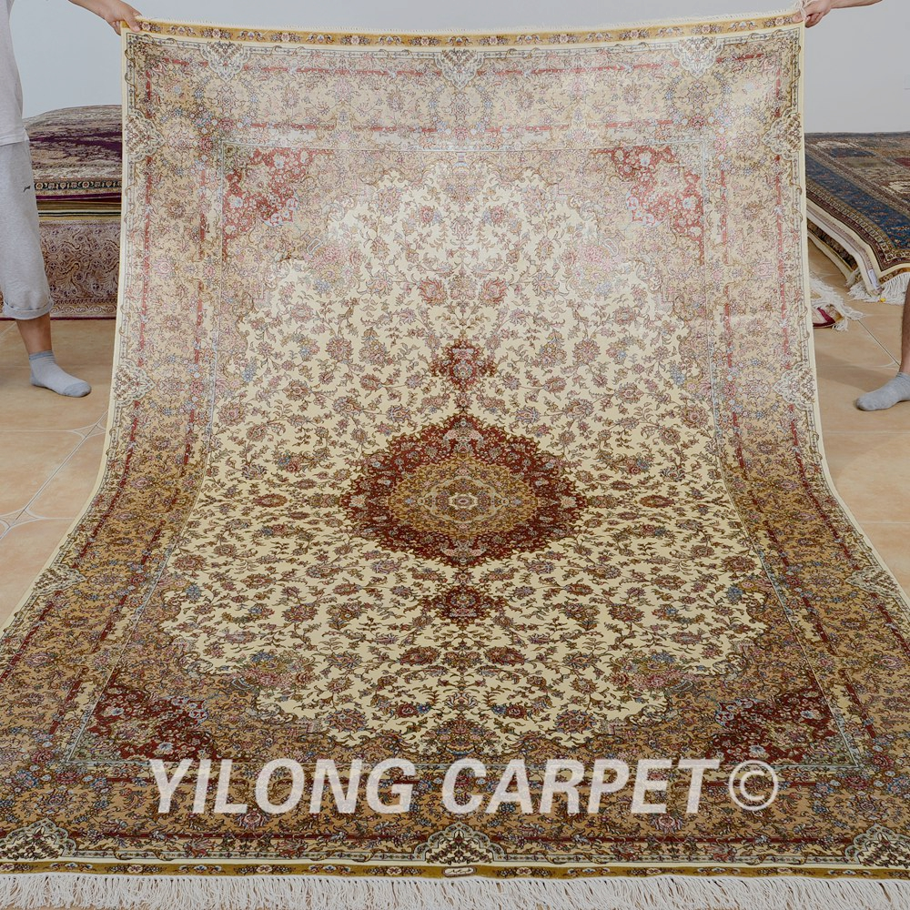 Yilong 6x9 Vantage traditional beige Persian carpet Chinese silk rug on sale (0265)