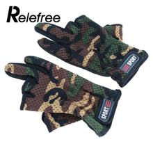 Relefree 1Pair Outdoor Gloves Anti-slip Fishing Gloves Breathable Wear Resistant 3 Low-Cut Fingers Fishing Gloves