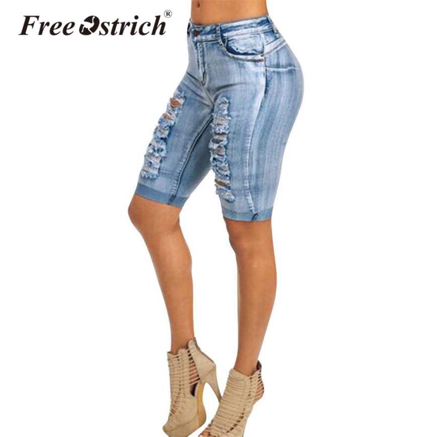 Free Ostrich 2018 Women Denim   Shorts   High Waist Skinny Holes Pockets Knee Length Solid Casual Ladies Summer   Shorts