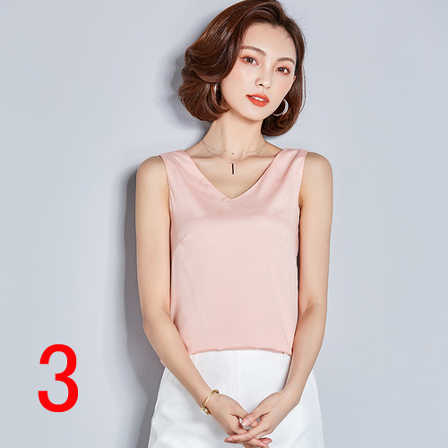 New J64065 Fahion 2019 Summer One Size Chiffon Shirt V Neck Solid Color Sleevess Office Lady