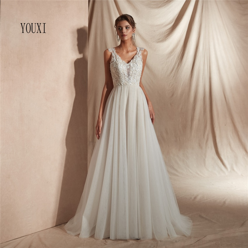 Vestido De Noiva 2019 A Line Wedding Dresses Appliques Lace Pearls Wedding Gown Bridal Dresses