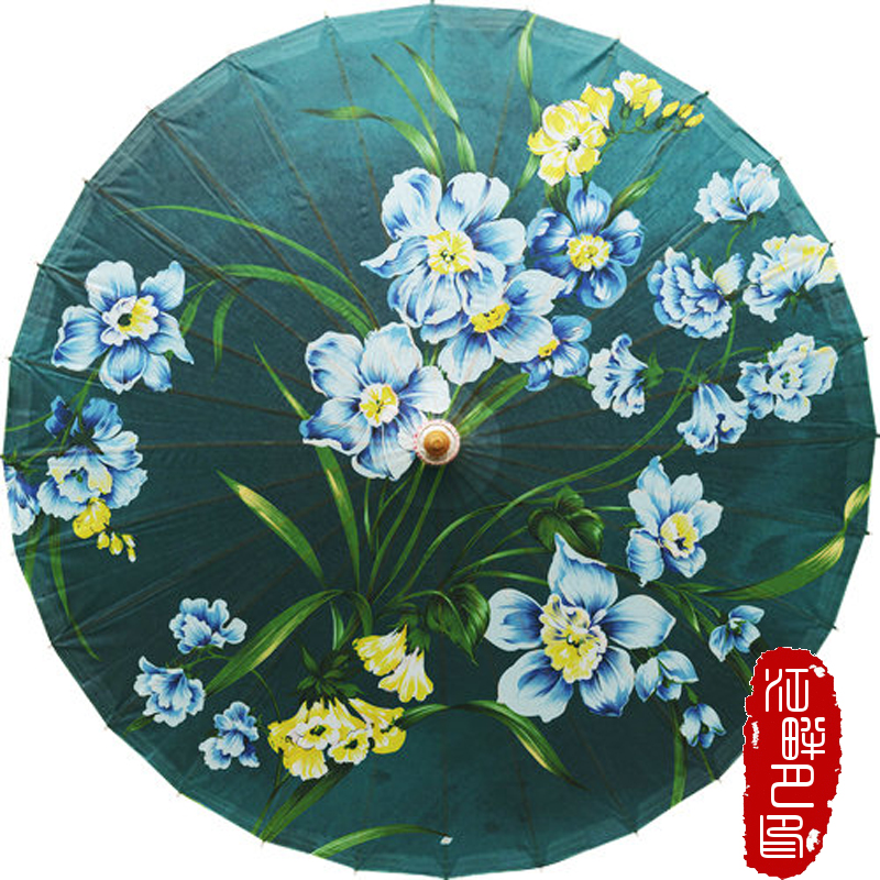 Dark Green Orchid Oil Paper Umbrella Blue Flower with leaf Paper Parasol Round Shape Oil Painting Paper Umbrella Exhibition Prop