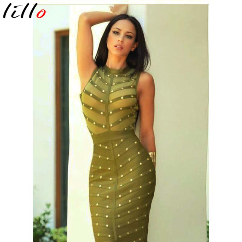 Dresses 2017olive Green White Black Sexy Net See Through Women Cap Sleeveless Hollow Out Turtleneck Bandage Dresses Short Party Dresses