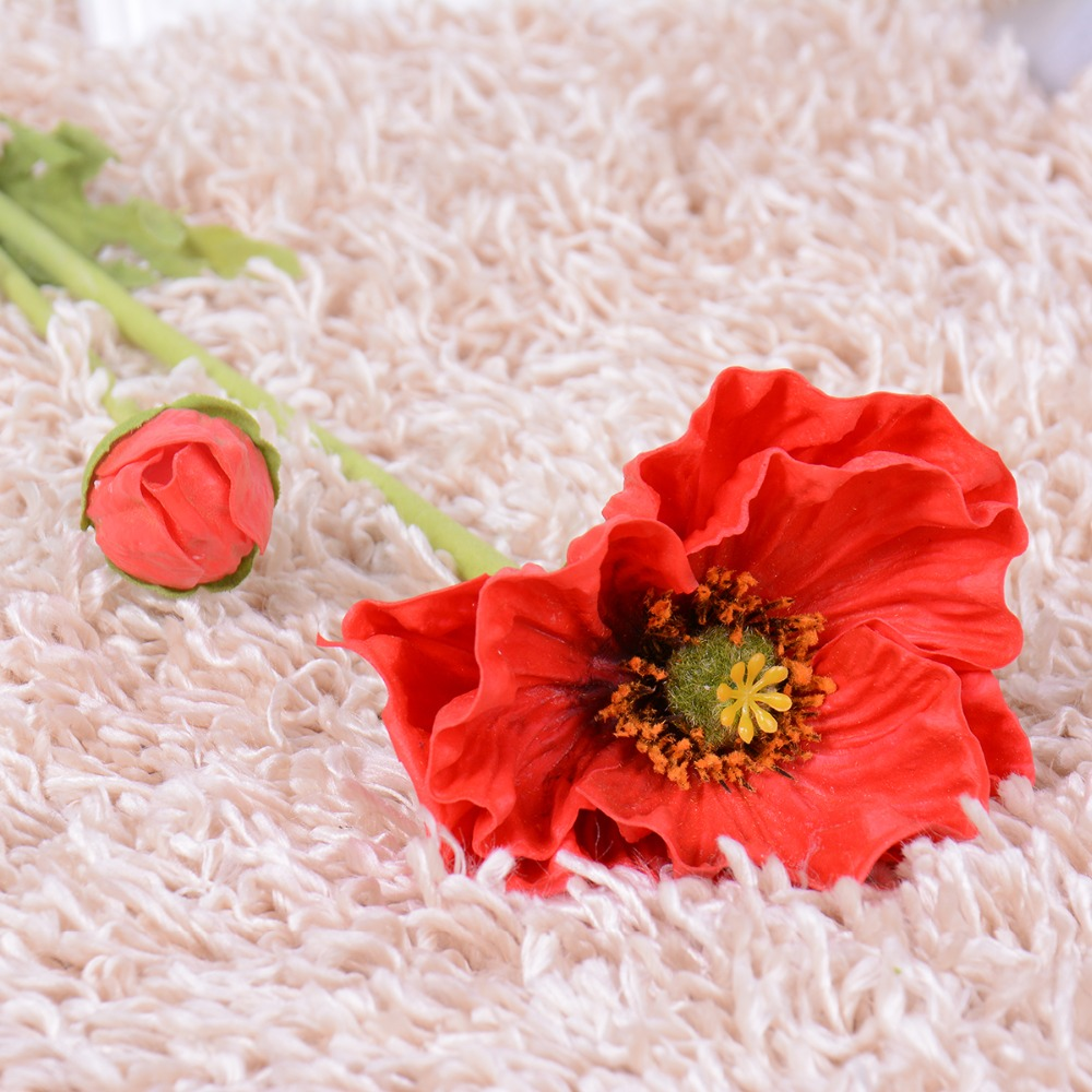 Wedding Decoration Pu Poppy Artificial Plants 28 Real Touch