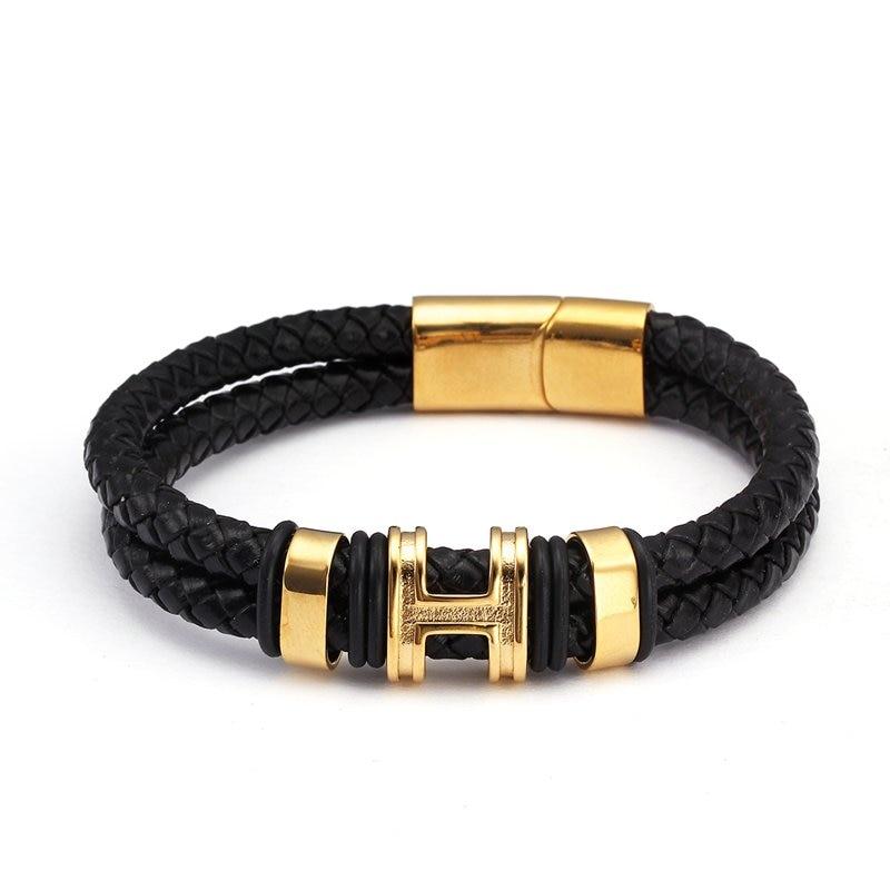 High Quality Stainless Steel Magnet Men Male Genuine Leather Bracelets Bangles Trendy Brand Black Sporty Charm Bracelets