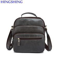 Hengsheng promotion genuine leather men bags with high quality cow leather men shoulder bags and leather