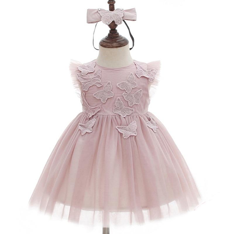 150d05352 Vestido de princesa Rosa bebé niña vestidos de bautizo vestido de tutú  hasta la rodilla para Baby Shower vestido de bautismo de encaje de manga  larga