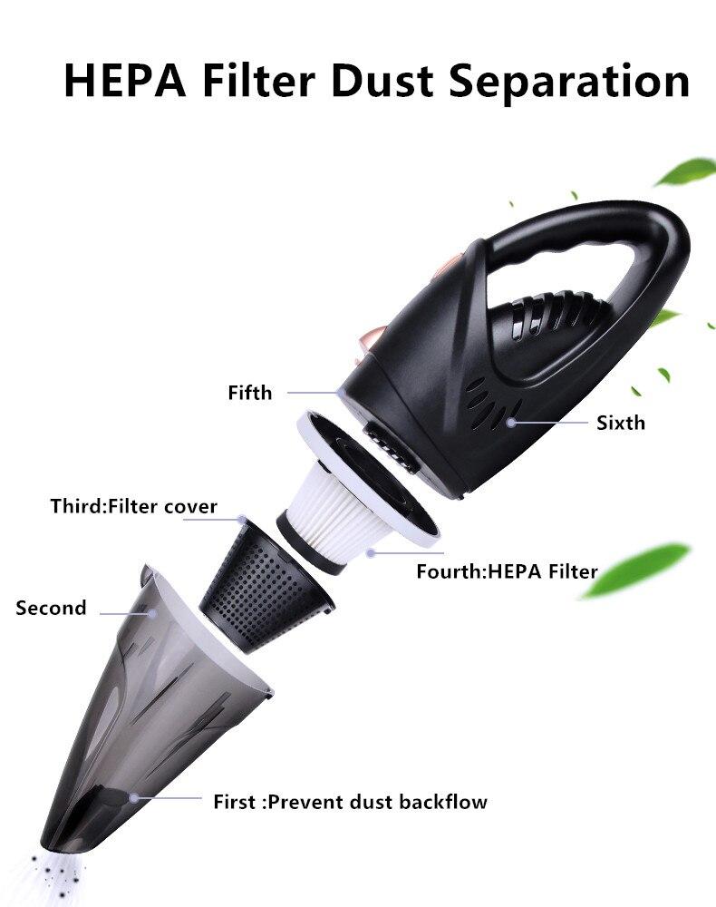 Купить с кэшбэком HF2003 Strong 4800pa Car Vacuum Cleaner 120W Wet&Dry Portable Handheld 16.4FT(5M)Power Cord with Carry Bag Cleaner