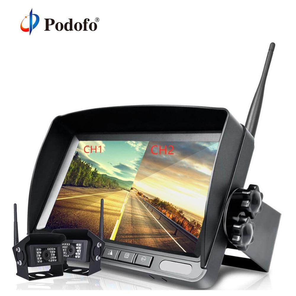 Podofo Wireless 7 Split TFT Auto LCD Monitor + 18 LED Car Rear View Backup Camera Kit 12V-24V For Truck Van Caravan Trailer