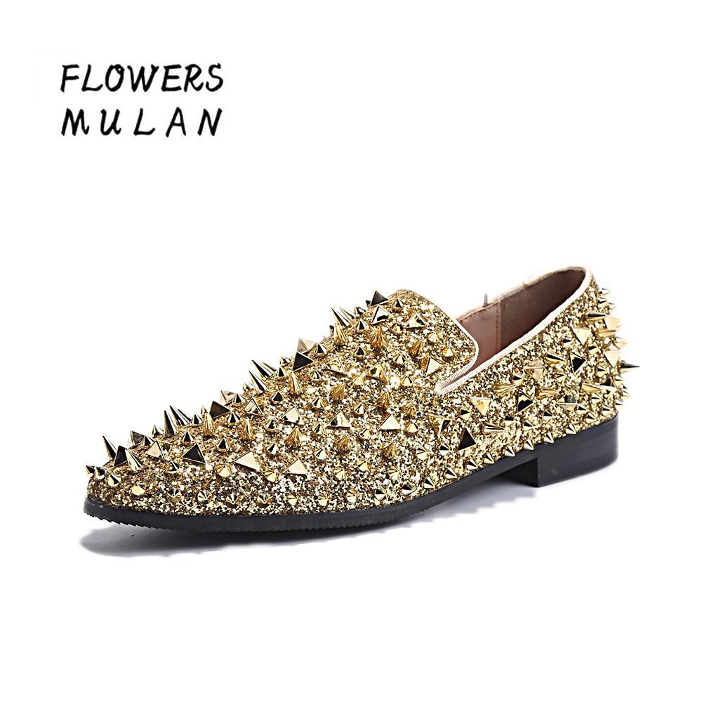 Luxus Arany Sequined Bőr Felső Férfi Loafers Teljes A Stud - Férfi cipők