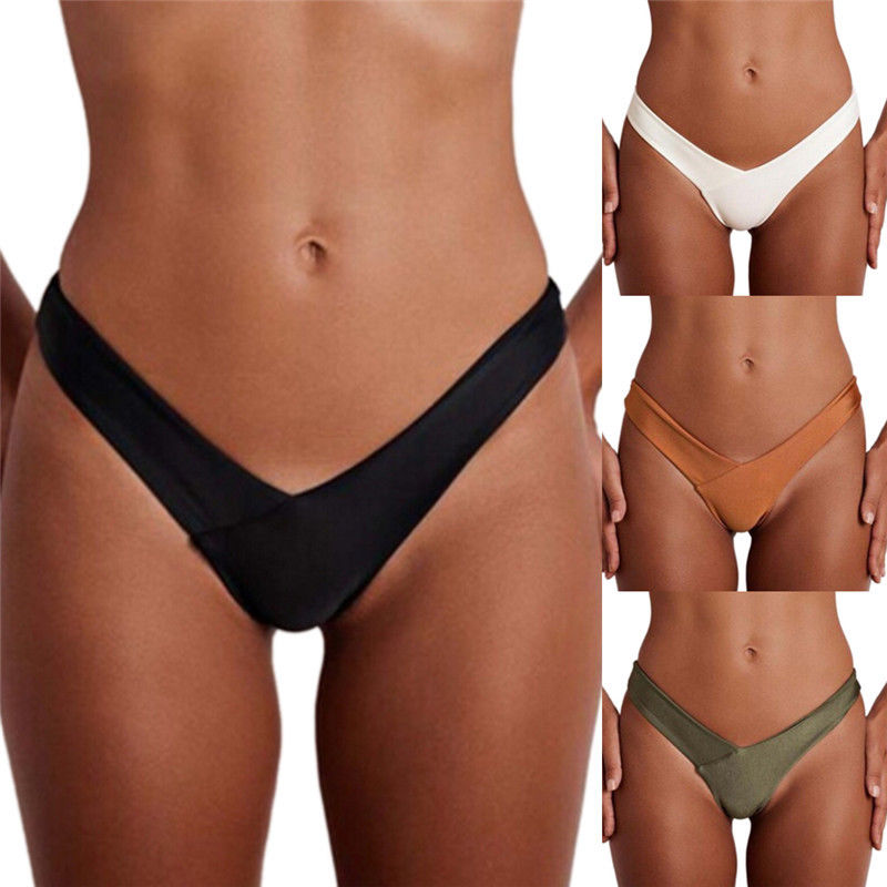 Black White Brown Green V Shape Sexy Brazilian Bikini Bottom Women Swimwear Swimsuit Trunk Tanga Micro Briefs Panties Underwear