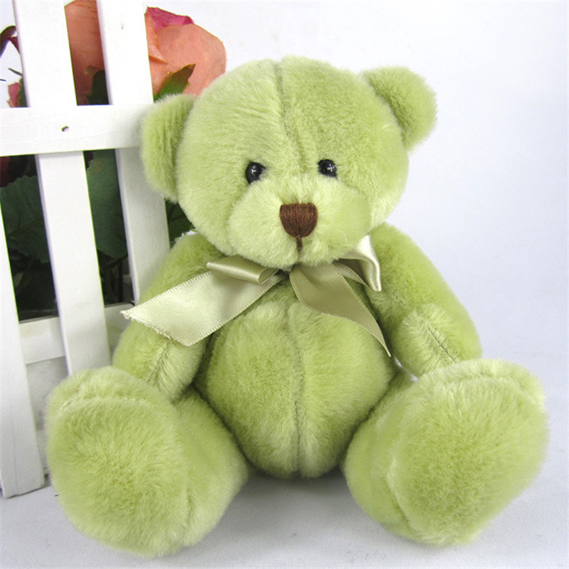 High quality teddy bear doll tie teddy bear plush toy cartoon plush toys wholesale with green and pink colour for kids toys