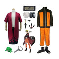 Anime Naruto Shippuden Uzumaki Cosplay Costume+Sage mode Cloak+Ninja shoes+ headband + Kunai sets+Necklace+Frog Purse Halloween