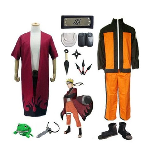 Anime Naruto Shippuden Uzumaki Cosplay Costume + Sage mode Manteau + Ninja chaussures + bandeau + Kunai ensembles + Collier + grenouille Bourse Halloween