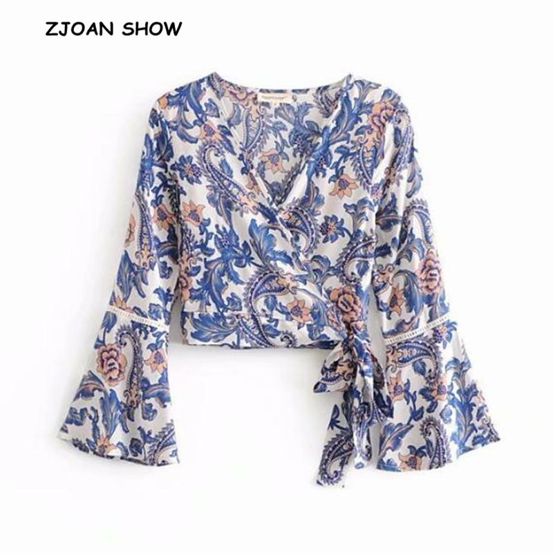 Women's Clothing 2018 V Neck Flower Print Lacing Up Waist Kimono Shirt Holiday New Women Laminated Lantern Sleeve Beach Bow Tie Short Blouse Tops