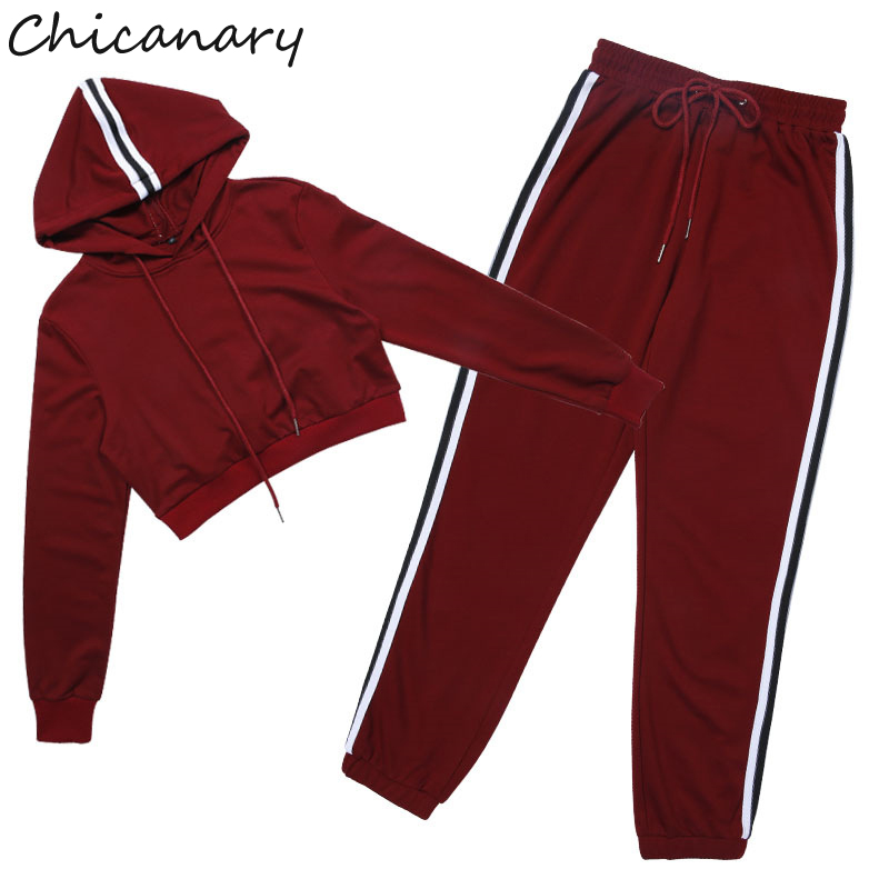 0455f631573 Chicanary Women Fashion Casual Tracksuit Autumn Winter Long Sleeve Crop Top  Pink Hoodies Suit Set Sweatshirt Strpied Pant-in Women's Sets from Women's  ...