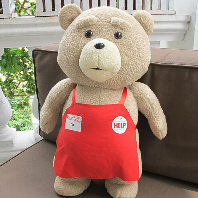 Big Size Movie Teddy Bear Ted 2 Bear Plush Toys In Apron 48CM Soft Stuffed Animals Plush Dolls For Christmas Birthday Gift big size teddy bear ted 2 plush toys in apron 45cm soft stuffed animals ted bear plush dolls for baby kids christmas gifts