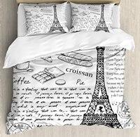 Paris Duvet Cover Set Traditional Famous Parisian Elements Bonjour Croissan Coffee Eiffels Tower Print Bedding Set Black White