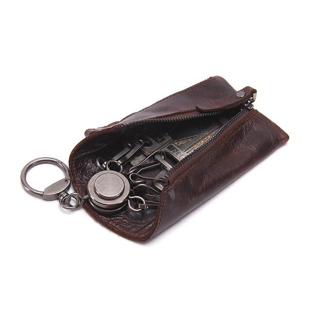 CONTACT'S Vintage Genuine Leather Key Wallet Women Keychain Covers Zipper Key Case Bag Men Key Holder Housekeeper Keys Organizer 4