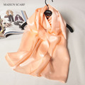 Solid Color 100% Silk Crepe Satin Plain Long Scarf Winter Scarves Shawl